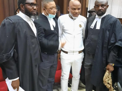 Nnamdi Kanu Arrives Federal High Court Amidst Tight Security.